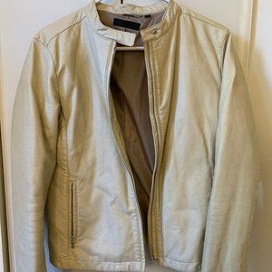 Uniqlo Womens Tan Leather Jacket Size Medium